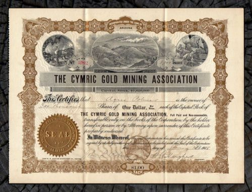 Stock/Bond: 1908 Silver Creek Colorado Cymric Gold Mining Association Stock Certificate
