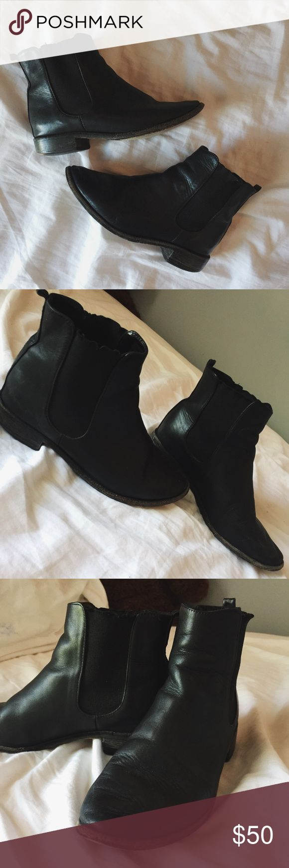 American Apparel Chelsea Boots. Black Chelsea Boots. Wood bottoms. These were my favorite Boots and I hate to part with them but they still have so much life to them. Size 6. American Apparel Shoes Ankle Boots & Booties