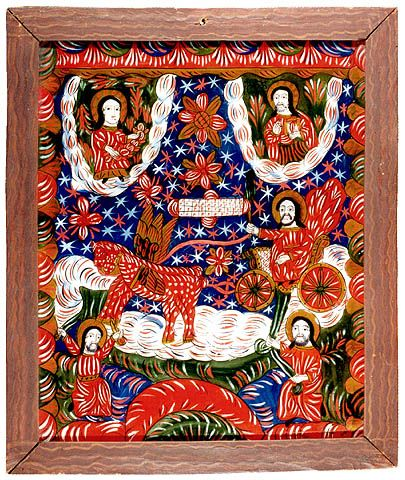 The Fiery Ascension of the Prophet Elijah-- Romanian folk icon
