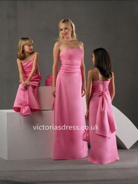 Sheath/Column Strapless Elastic Woven Satin Bridesmaid Dresses With Sashes/Ribbons
