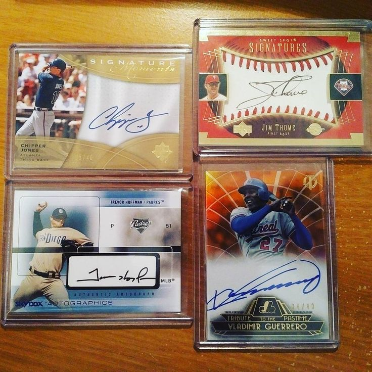 From my pc in honor of today's #MLB #HOF announcement. Congrats to #chipperjones #vladimirguerrero #jimthome and #trevorhoffman the latest members. #mlbhof #baseball #auto #autograph #baseballcards #Montreal #expos #atlanta #atlantabraves #angels #anaheimangels #sandiego #padres #clevelandindians #cleveland #Philadelphia #phillies #mlbcards #mlbhistory
