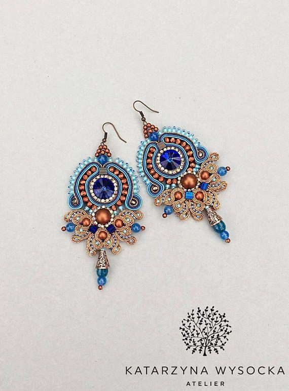soutache earrings, copper blue navy dangles, boho, indian style, orecchini soutache, pendientes soutache, boucles d'oreilles