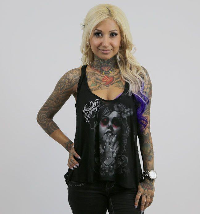 手机壳定制jordan  Sullen Angels quot Moth Lady Slub quot Lace Back Tank Top with Sugar Skull Design