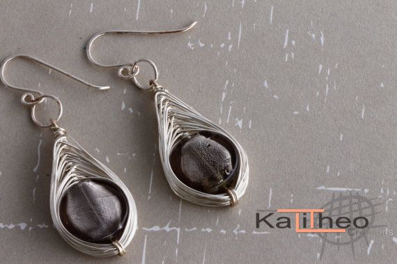 Earrings Wire Wrapped Dangle sparkly Glass by KalitheoCreations  #bestofetsy #wirewrapped #earrings