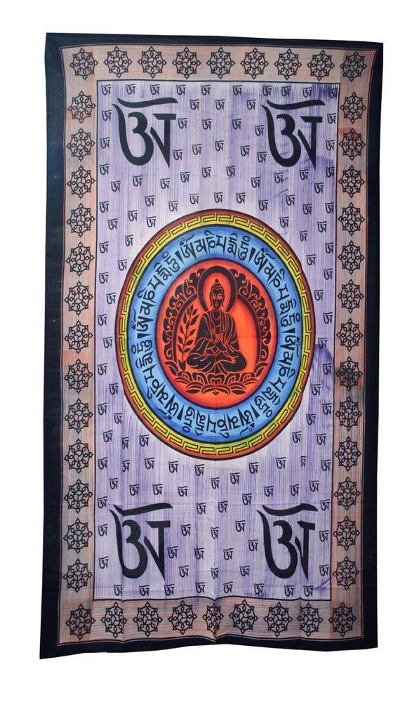 Mandala Bedspread Mahatma Buddha Print Yoga Wall Hanging Bedspread Single Twin #Handmade #ArtDecoStyle