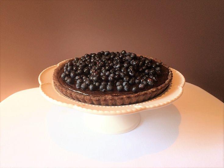 Tarte bleuets (myrtilles) et chocolat noir
