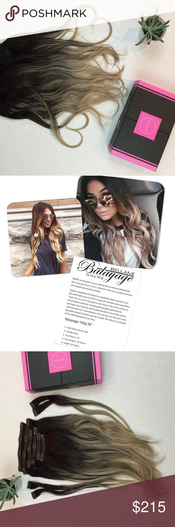 NEW ll • Bellami Balayage Hair Extensions PRICE FIRM • Trades • New In Box • Color: #1C/18 • Style: Bellami Balayage by Guy Tang • New in original package. Never Worn. • Total weight: 160 grams • Total Pieces: 10 • Length: 20 inches • 100% Remi Human Hair • Bag and Storage Box included • Balayage Range Contains: 1 x 8 inch wefts • 1 x 7 inch wefts • 2 x 6 inch wefts • 2 x 4 inch wefts • 4 x 1.5 inch wefts • THIS HAIR EXTENSIONS HAVE NOT BEEN ALTERED- NOT CUT OR DYED, NOT SEWED IN TOGETHER •…