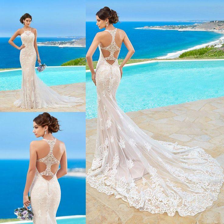 Kitty Chen Wedding Dresses Lace Appliqued Halter Sleeveless Beach Wedding Dress Sweep Train Mermaid Ball Gown For Bride Cheap Wedding Dresses Online Corset Wedding Dresses From Newdeve, $149.6| Dhgate.Com