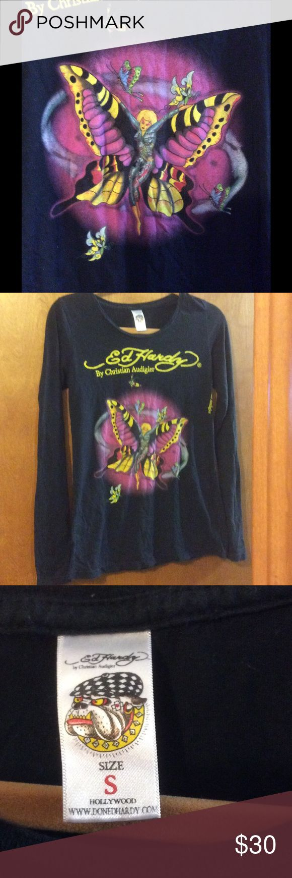 ❤️NWOT❗️ Ed Hardy fairy tattoo tee Soft; New (no tags) ; stored in my closet Ed Hardy Tops Tees - Long Sleeve