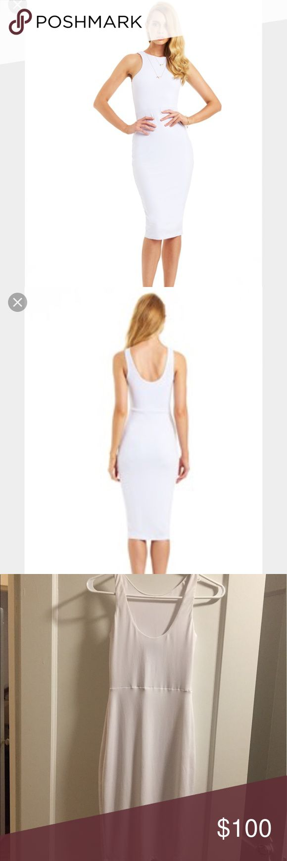 White nookie dolce vita dress Size 8 aus (size small). This dress is lined with zipper. stretchy material. Can be worn scoop neck or high neck either way. Only worn one time. Somehow i snagged it on something as you can see in the last pic. This is up close and you can't really tell when the dress is on since it's at the bottom. However I adjusted the price to match the flaw. Other than that this dress is in great condition! Zara Dresses Midi