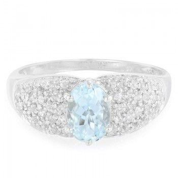 Zilveren ring met een aquamarijn