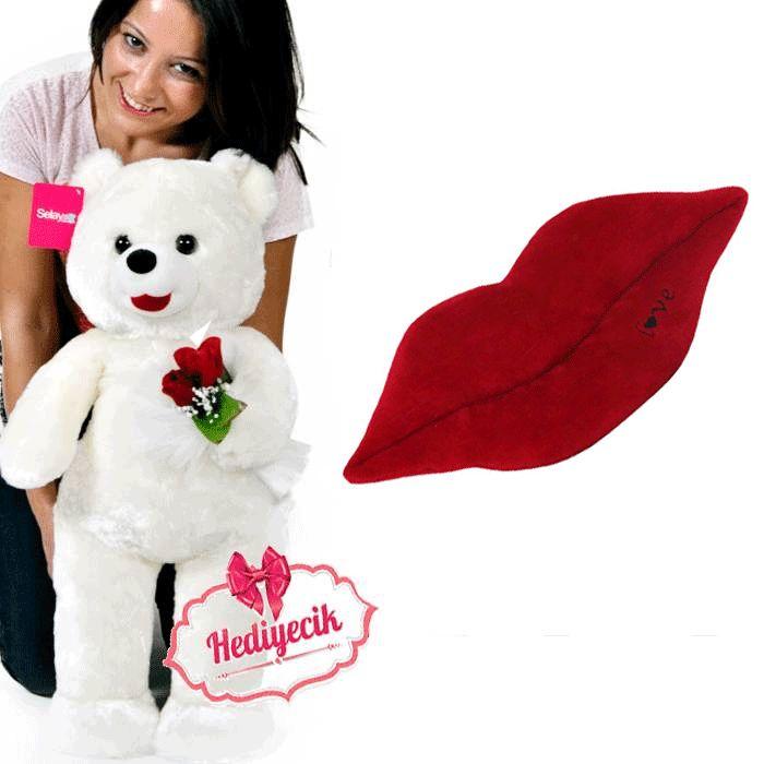 peluş ayı 80 cm  love kalp dudak yastık hediyeli
