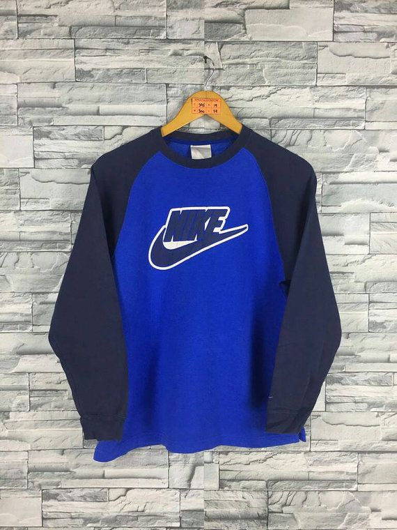 fc763848c57c0c Vintage 90 s NIKE SWOOSH Sweatshirt Women Medium Blue Nike Sportswear  Streetwear Nike Raglan Sweater Nike Big Logo Pullover Jumper Size M