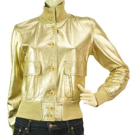 Authentic Moschino Gold Shiny Leather Bomber Jacket - SZ40