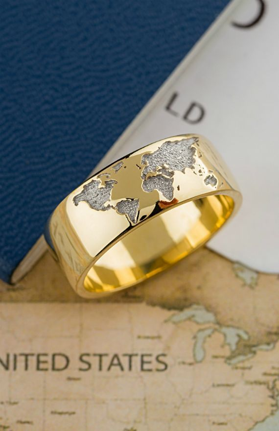Unique 14k Gold Ring With World Map Custom Made Ring Rings For