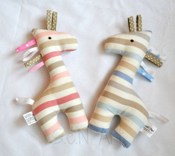 Giraffe Baby Rattle and Teether Soft Toy Gift for baby by SenArt1