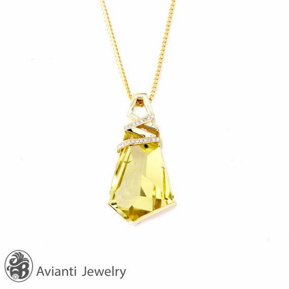 Pendant, Lemon Quartz and Diamond Pendant in Yellow Gold, Geometric Cut quartz W/ Pave Diamonds Pendant, Lemon Quartz Slider  | NEC01952