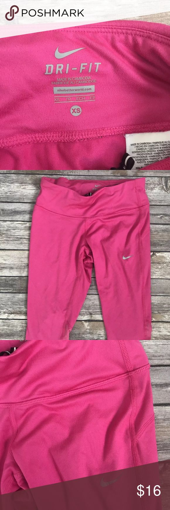 Nike capri Pink Nike capris • XS • features one inside pocket and one on the back with a zipper Nike Pants Track Pants & Joggers