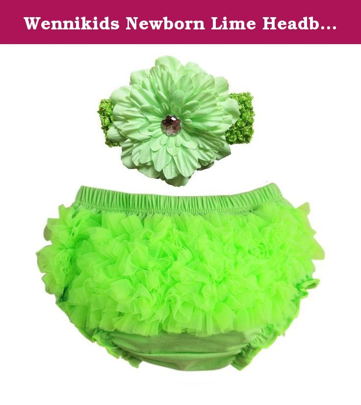 Wennikids Newborn Lime Headband and Matching Ruffle Diaper Cover Set (M(6-12M), Lime). Material:Cotton+Chiffon Ruffles Comes in 3 Sizes,0-6M,6-12M and 12-24M Elastic Waistband With Peony Flower Headband 4x15cm Flower Size:12cm diameter.