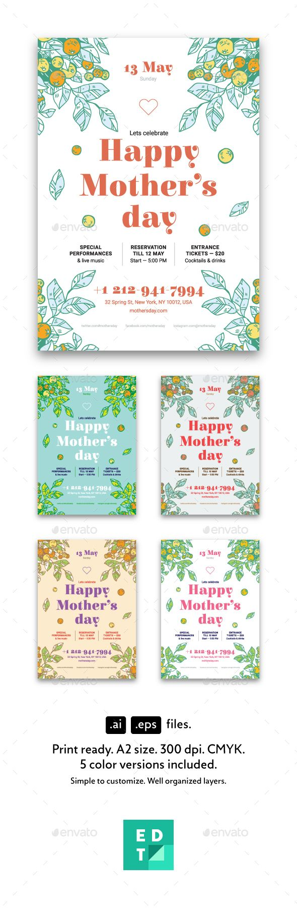 Mother's Day Poster Template Vector EPS, AI Illustrator