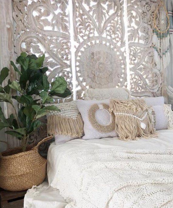 71 Large Wall Art King Size Bed Sculpture Bohemian Etsy Bohemian Headboard Headboard Decor