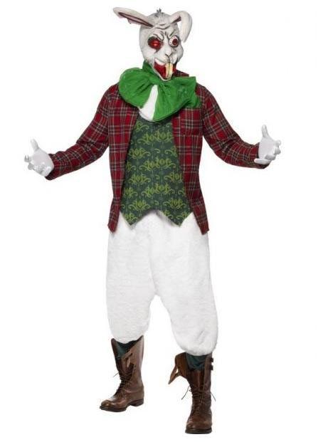 Disfraz Conejo Blanco, asesino. Alicia en el país de las Maravillas. Disney Estupendo disfraz del Conejo Blanco, macabro, personaje de Alicia en el país de las Maravillas.
