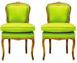 Trend alert...love this fluorescent green on these little French chairs!