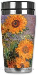 Monet's Sunflowers, stainless steel Insulated art coffee tumblers.