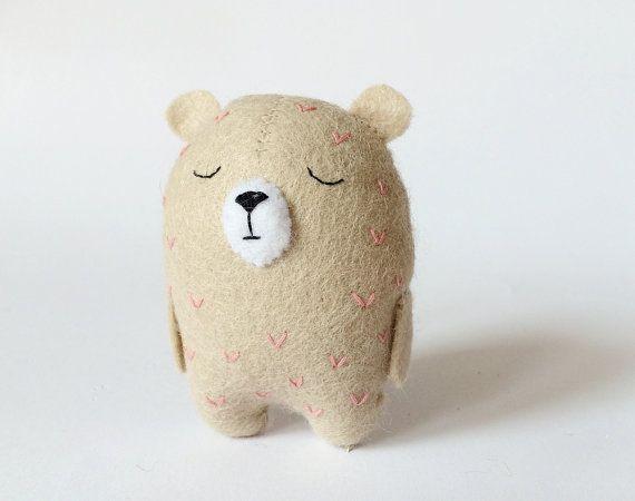 Small Felt BearPink Bear Small Beige Bear Felted Bear