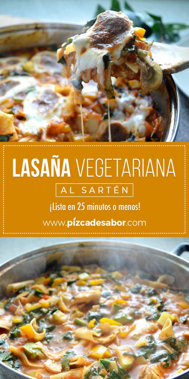 Lasaña vegetariana al sartén. ¡Lista en 25 minutos o menos! Veggie Recipes, Real Food Recipes, Yummy Food, Vegan Vegetarian, Vegetarian Recipes, Healthy Recipes, Avocado Pasta, Food N, Vegan Life