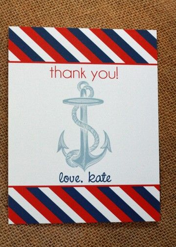Etsy Transaction - DIY Printable Thank you card- Ahoy it's a boy baby shower- Nautical -Personalized