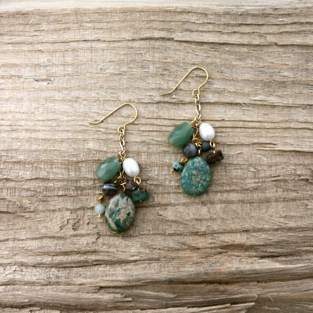 Turquoise, Pearl and Semi-Precious Stone Bead Cluster Earrings £18.00