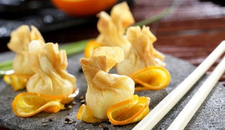 Bombas de queso con naranja