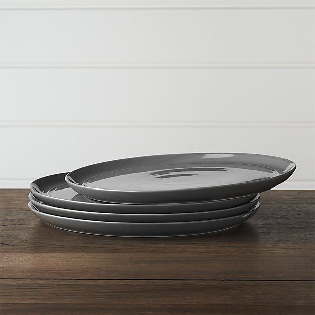 Set of 4 Hue Dark Grey Dinner Plates | Crate and Barrel