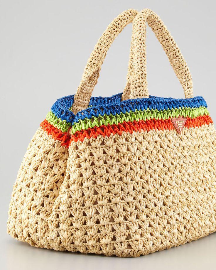 Prada style crochet bag raffia bag bud pattern di auntieshirley, $85,00