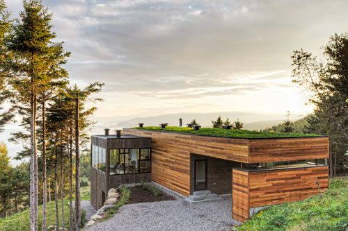 Marry modern with wooded, hillside landscape