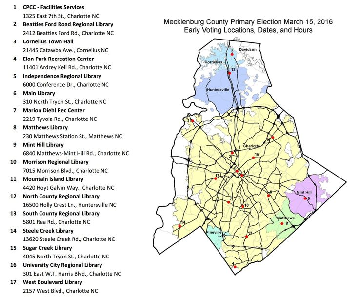 Charlotte/Mecklenburg NC 2016 Primary Elections Early Voting Locations, Dates Times