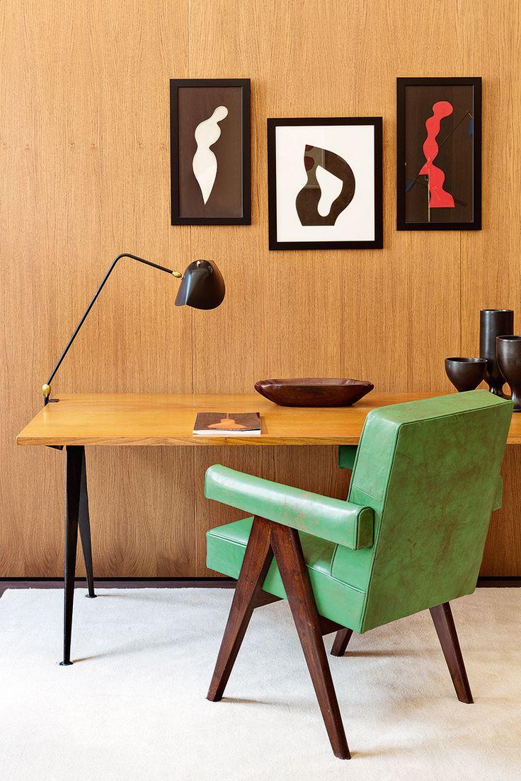 Emmanuel de Bayser Berlin Apartment / Pierre Jeanneret chair, Serge Mouille lamp