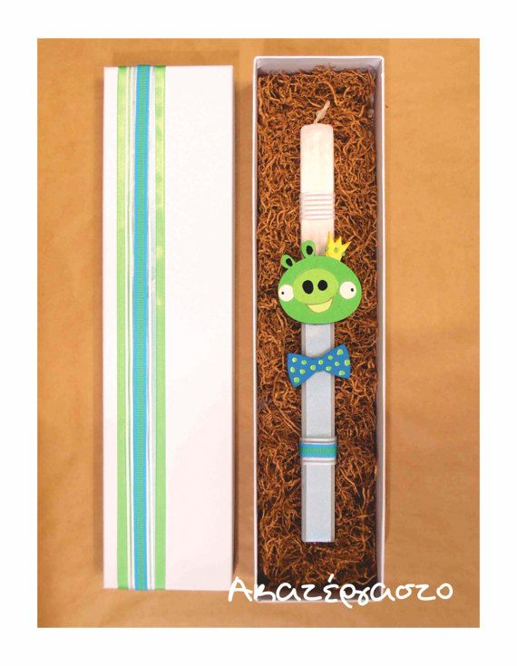 Easter candle King Pig Angry Birds character Greek by Akatergasto