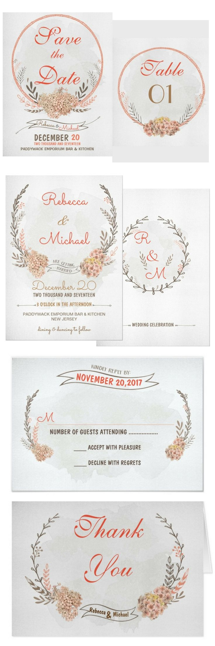 Rustic wedding invitation | Vintage | Romantic | Save the Date | Floral | Wreath | Watercolor | Response Card |
