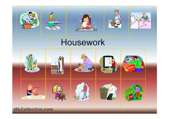 A ppt on household chores and the Present Continuous. - ESL powerpoints esl, activities, housework, present, tenses