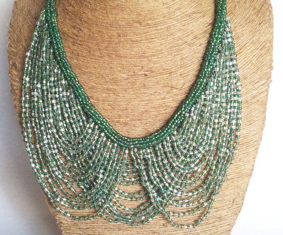 Dark Green Necklace/Statement Necklace/Bohemian por Magicstring