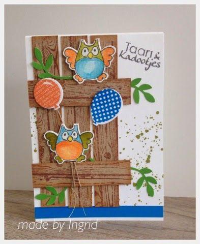 Ingrid's scrapfrutsels: Kinderkaartje met uiltjes