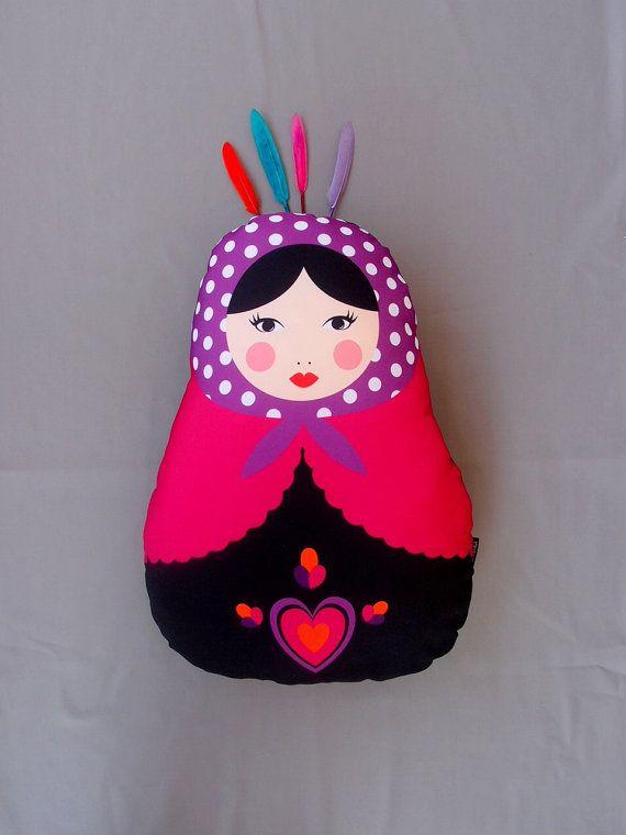 Fuschia Decorative Matryoshka Heart Lilac Pillow Dot by baboshkaa