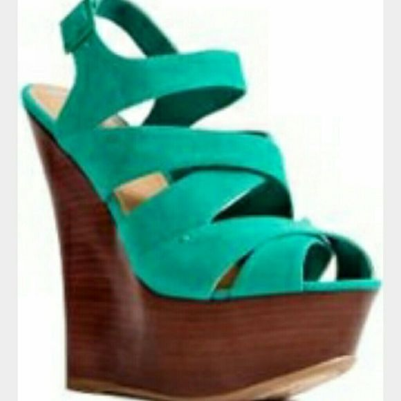 Just Fab Teal Wedges Worn once. I love these but do not have much use for them. Believe it or not despite the high wedge they are pretty comfortable to wear and walk in. JustFab Shoes Wedges