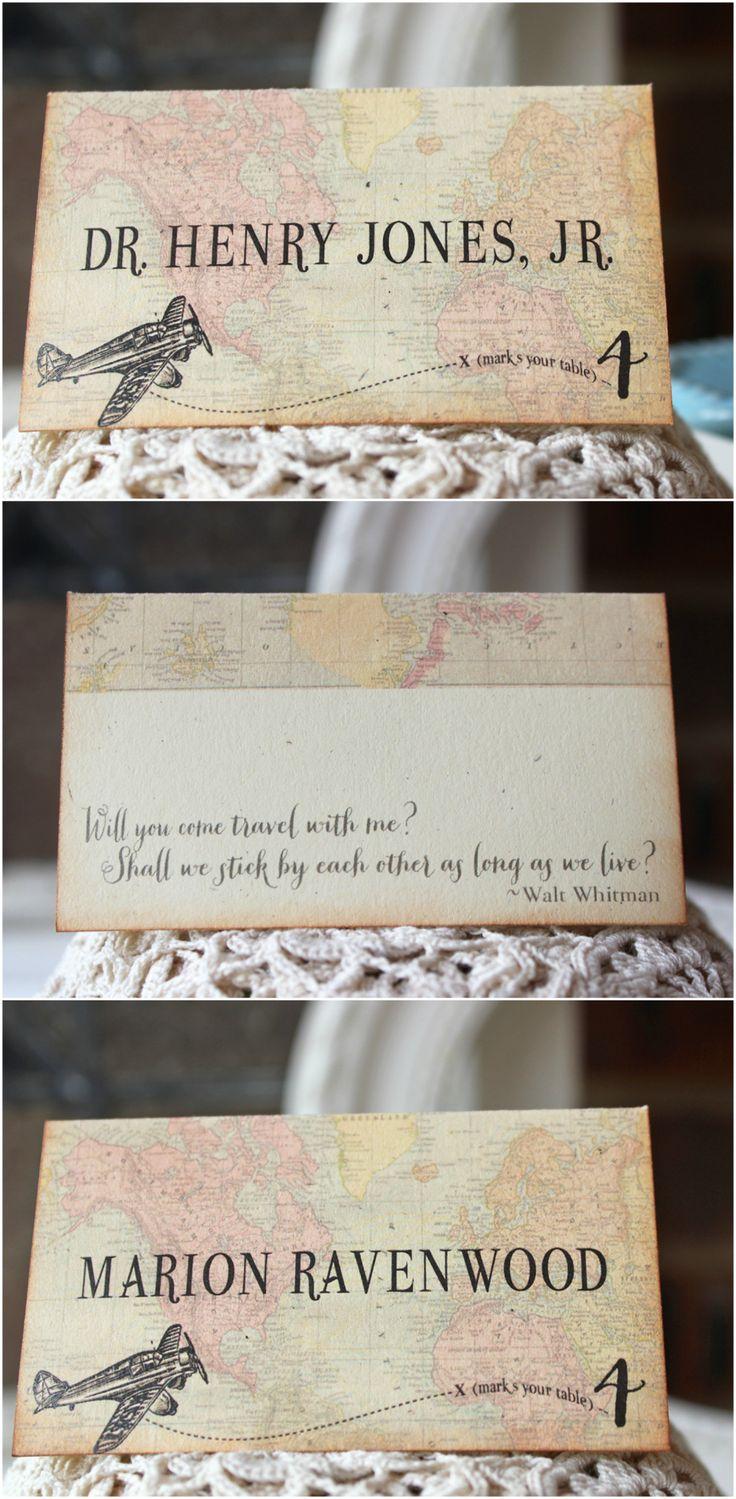 vintage travel, world map, aviation wedding reception place cards / Sunshine and Ravioli