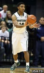 Keith Appling scored 16 of his career-high tying 27 points in the first half to help No. 5 Michigan State pull away and rout New Orleans 101-48 Saturday.