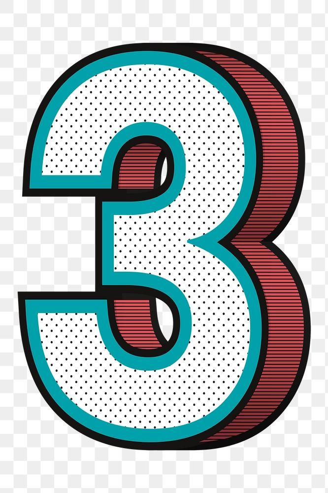 Number 3 Png Isometric Halftone Effect Typography Free Image By Rawpixel Com Wan Halftone Typography Isometric
