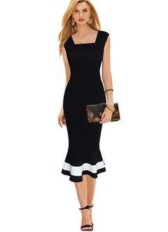 Negro de algodón Sólido Bloques de colores Sin mangas Mitad de la pantorrilla Vestidos