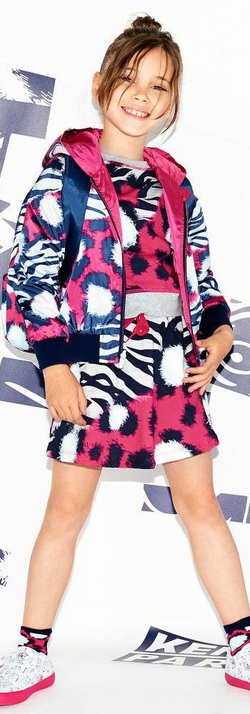 KENZO KIDS Girls Reversible Bomber Jacket & Dress  for Spring Summer 2018. Love this cute mini me look Inspired by the Kenzo Women's Collection. Perfect Streetwear Look with a fun print dress and super cute jacket for a little princess. Pretty Summer Look for a stylish kid, tween and teen girls.    #kenzo #girlsdresses #kidsfashion #fashionkids #childrensclothing #girlsclothes #girlsclothing #girlsfashion
